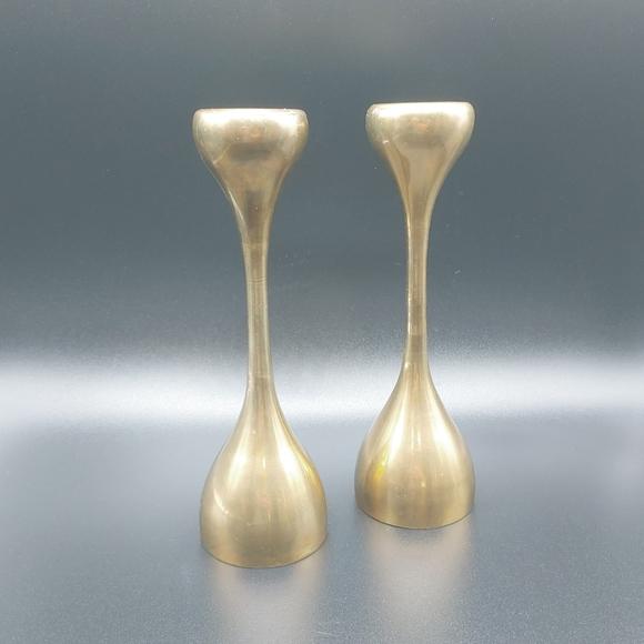 "Vintage Other - Pair Vintage 8"" Brass Candlesticks Mod/Deco"